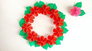 【折り紙】可愛い花で作るヒイラギ のリース  【Origami 】Holly wreath made with cute flowers