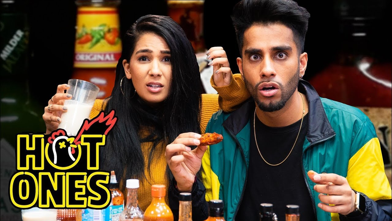 Eating Spicy Wings | Hot Ones Challenge (Couples Edition)