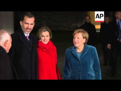 Merkel welcomes King of Spain Felipe VI and Queen Letizia