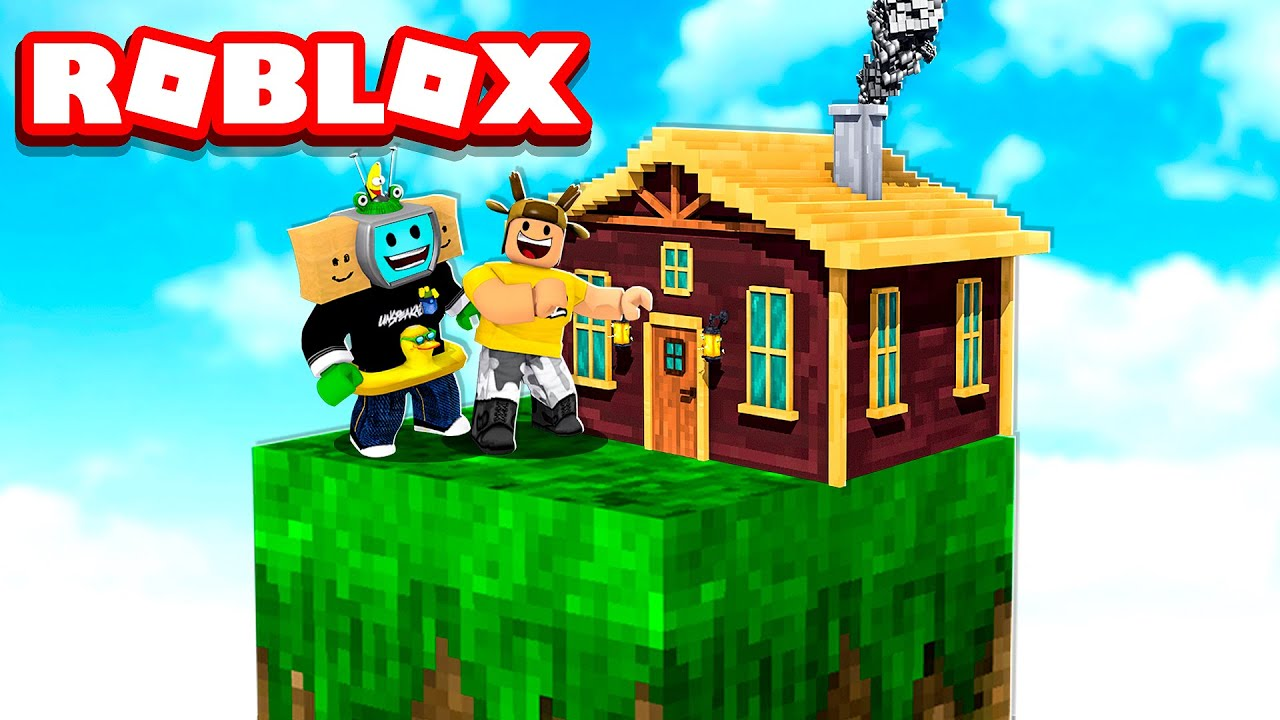 Building a HOUSE on ROBLOX SKYBLOCK with UnspeakableGaming!