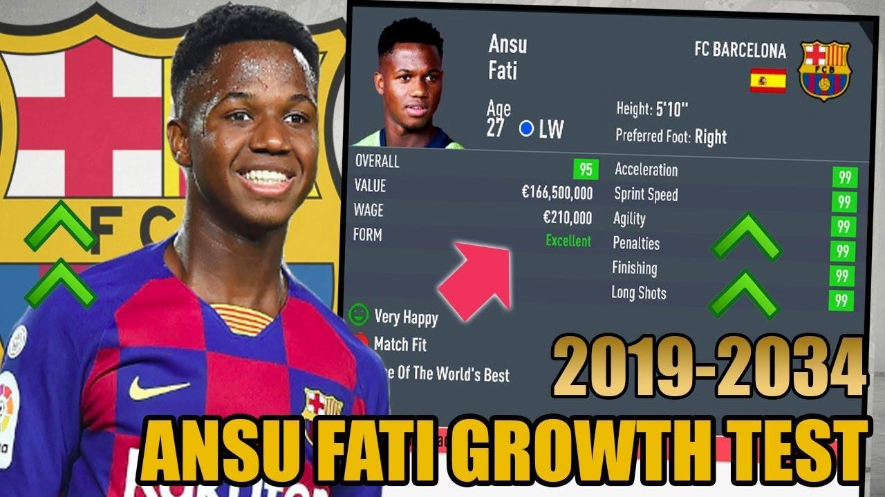Ansu Fati Growth Test 2019 2034 Fifa 20 Career Mode Youtube
