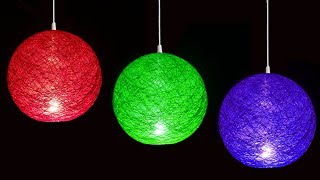 How to Make Hanging Yarn or Wool Ball Lantern by Very Easy (Diwali and Christmas Crafts) : DIY