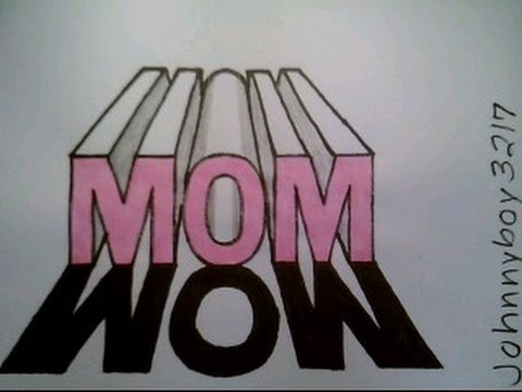 How To Draw The Word Mom In 3d Casting A Shadow Easy 1 One Point
