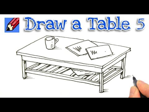 How To Draw A Coffee Table Real Easy Step By Step 5 Youtube