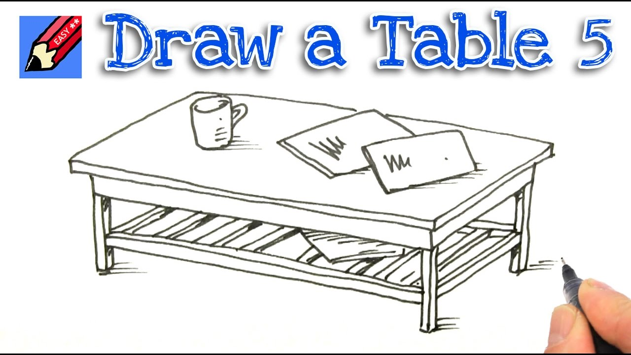 How To Draw A Coffee Table Real Easy Step By 5