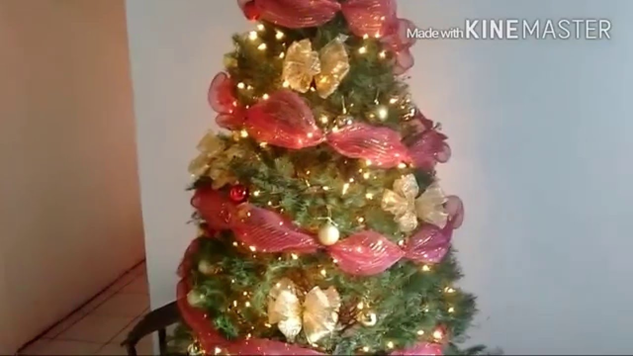 Decoracion navide a christmas decoration youtube for Como decorar un pino de navidad