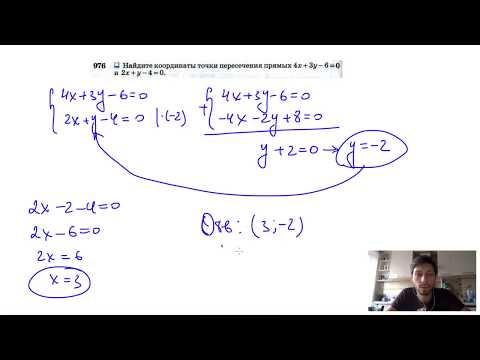№976. Найдите координаты точки пересечения прямых 4x + 3y-6 = 0 и 2х+у-4 = 0.