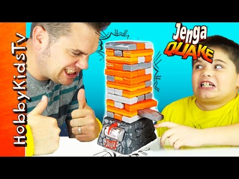 Jenga Quake Game Night! HobbyPig + HobbyFrog Contest w/HobbyDad by HobbyKidsTV