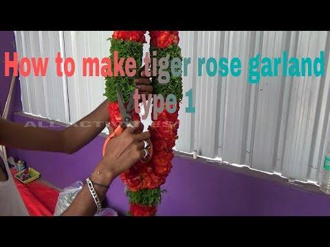 How to make tiger rose flower garland/gulab ka phool ka haar/mala/phulonki mala bananeka tareka ty.1