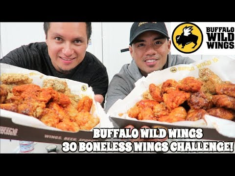 BUFFALO WILD WINGS 30 BONELESS WINGS CHALLENGE! BLAZIN' WINGS!