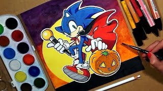 Drawing Sonic Hedgehog. Happy Halloween! Watercolor and Markers.(This Speed Drawing video shows How to Draw Sonic Hedgehog Cartoon Character. Drawing Watercolor, Markers and other Art Materials. Art Time Lapse Video ..., 2016-10-30T07:36:29.000Z)