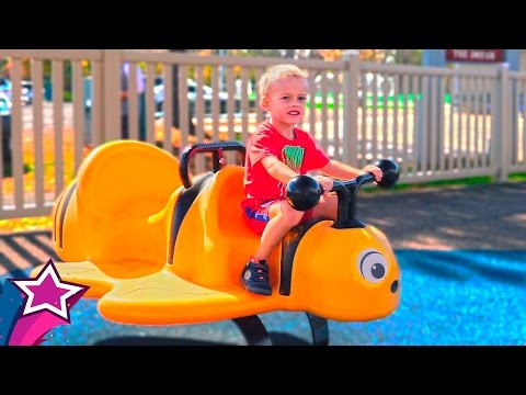 GIANT FUN AMAZING KIDS PLAYGROUND Cute Max Plays in Real Life at Children's Playground For Kids