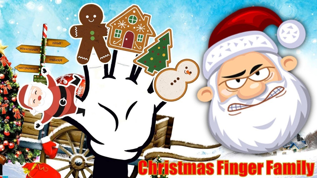 Finger Family Song Christmas Santa Snowman Gingerbread House Nursery Rhyme Video For Kids
