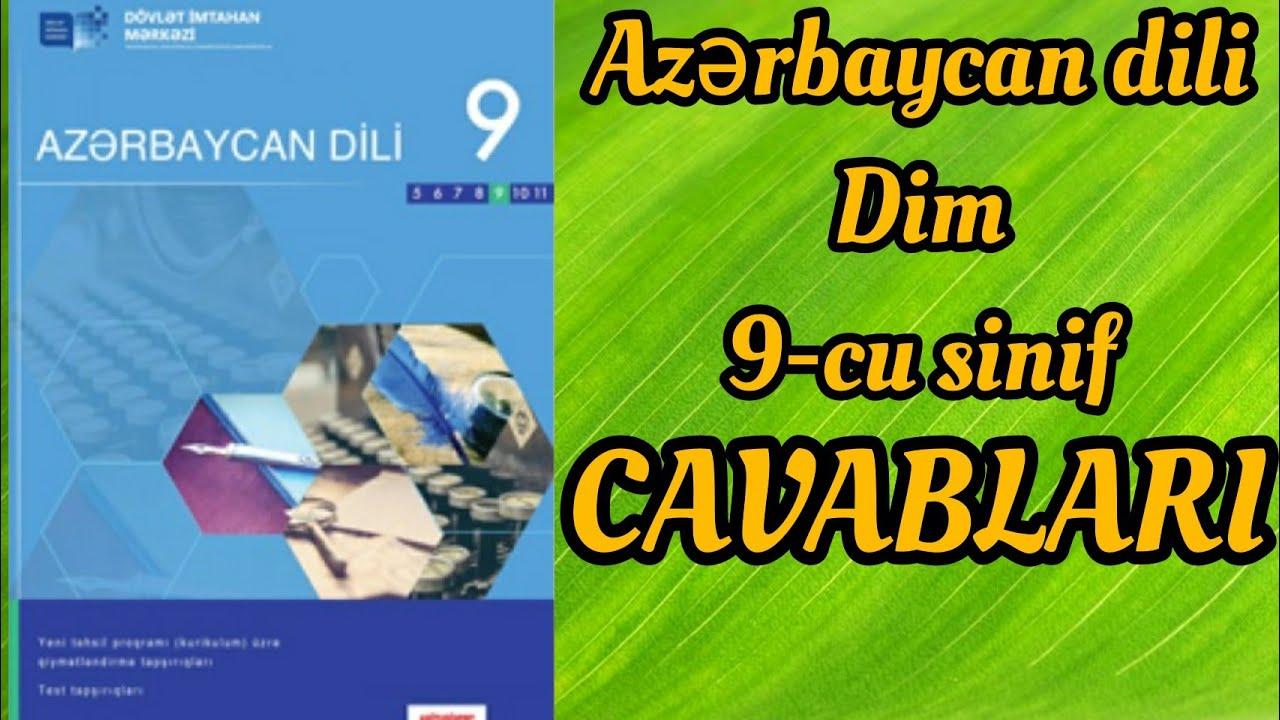 Azərbaycan dili Dim 9-cu sinif test tapşırıqlarının CAVABLARI (sinif testi)