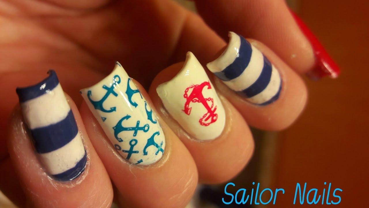 Sailor nails design tutorial youtube sailor nails design tutorial prinsesfo Image collections