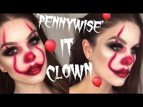 EASY 'PENNYWISE' CLOWN | IT MOVIE HALLOWEEN MAKEUP TUTORIAL | RhiannonClaire