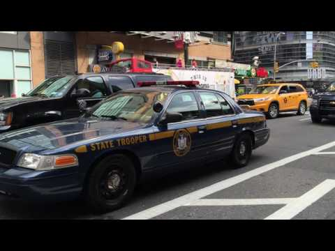 RARE CATCH OF 2 NEW YORK STATE POLICE TROOPER UNITS PATROLLING TOGETHER ON 8TH AVENUE IN NYC.