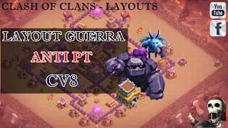 LAYOUT DE GUERRA ANTI PT CV8 + REPLAYS (BASE WAR TH8) - Clash Of Clans Layouts 2016