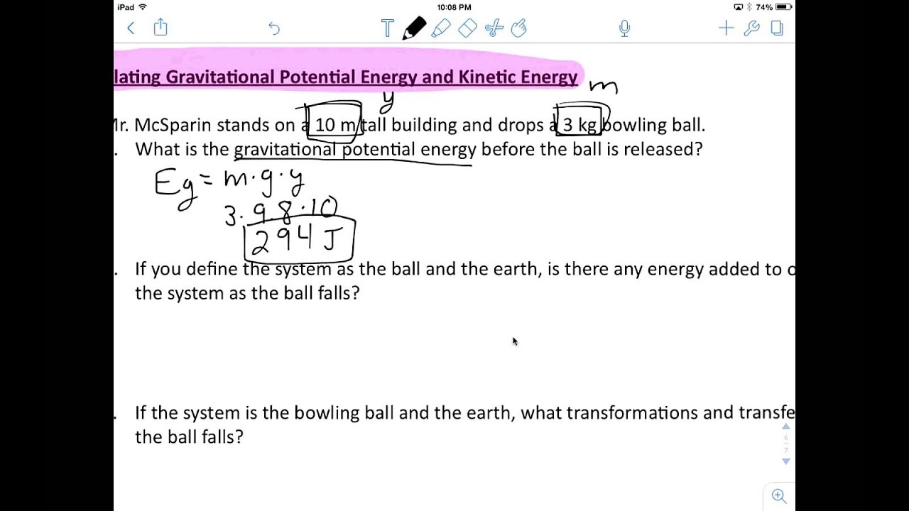 Energy Review Calculating Gravitational Potential Energy