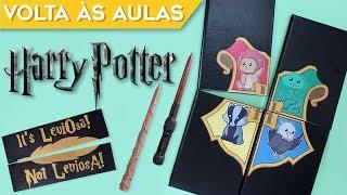 DIY MATERIAL ESCOLAR HARRY POTTER 2018 | Como fazer caderno Hogwarts, Caneta Varinha | Do Sofá