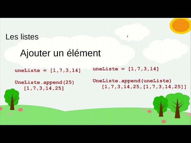 Les listes en langage Python