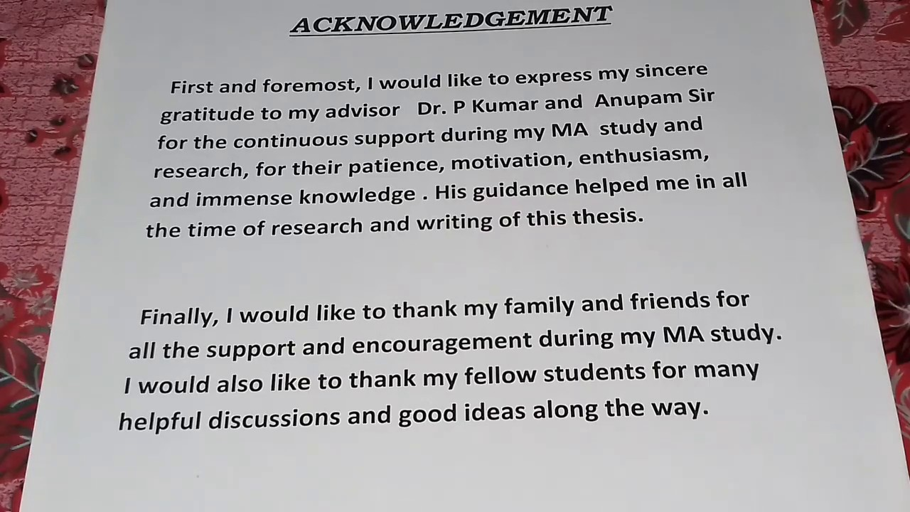 How to write an acknowledgement assignment of note