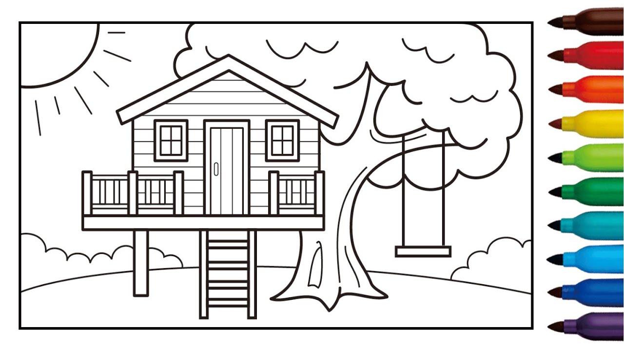 Cara Menggambar Dan Mewarnai Rumah Pohon Untuk Anak Tree House Coloring Pages Youtube