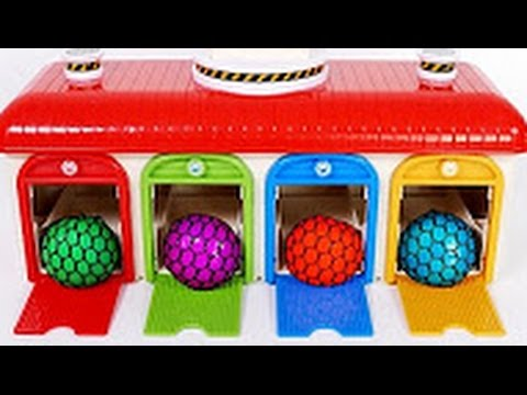 Squishy Balls Garage Parking Bus Playset for Children Learn Colors #1