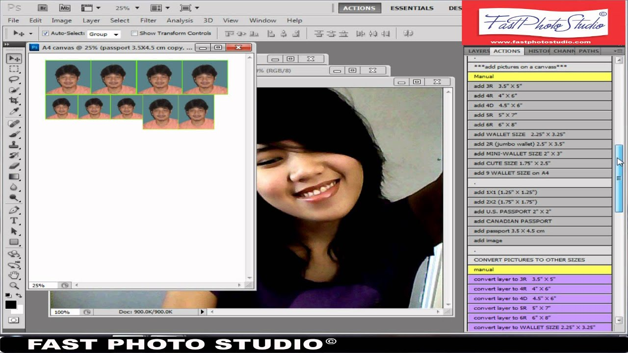 1x1 2x2 passport size wallet size and 3R on fastphotostudio - YouTube