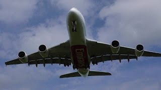 """Emirates  Airbus A380-861  A6-EOI  """"AMAZING OVERHEAD"""" ✈TOUCH AND GO✈ @ Hamburg Airport (ED"""