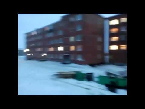 The roof flies in the wind. Dudinka, Krasnoyarsk Krai, Russia. March 21, 2016