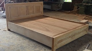 Woodworking Skills Are Very Smart   How To Building A Queen Size Bed Extremely Simple And Beautiful