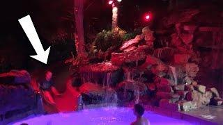 Water Slide at NIGHT!  Inferno Slide!