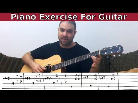 Tutorial: Piano Exercise For Guitar - w/ TAB (Flea Waltz / Flohwalzer / Dog Waltz)