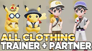All Clothing for Trainer & Partner Pokemon (With CROWN) - Pokemon Let's GO Pikcahu & Eevee