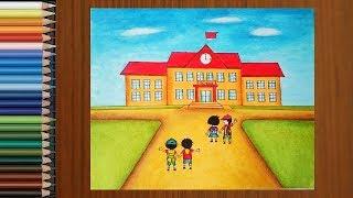 drawing kid draw scene step drawings paintingvalley