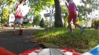RC fire truck chasing and squirting the kids | iwaldrum