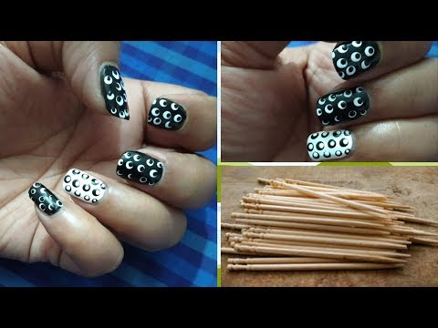 Easy Nail Art With Toothpick/ Double Polka Dot Nail Art/ Polka Dot Nail Art (hindi, Urdu)