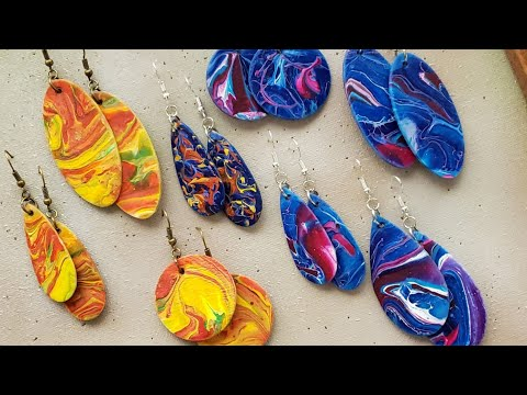 Paint Pour Earrings - Make Earrings and a Painting at the Same Time!  Eps 135