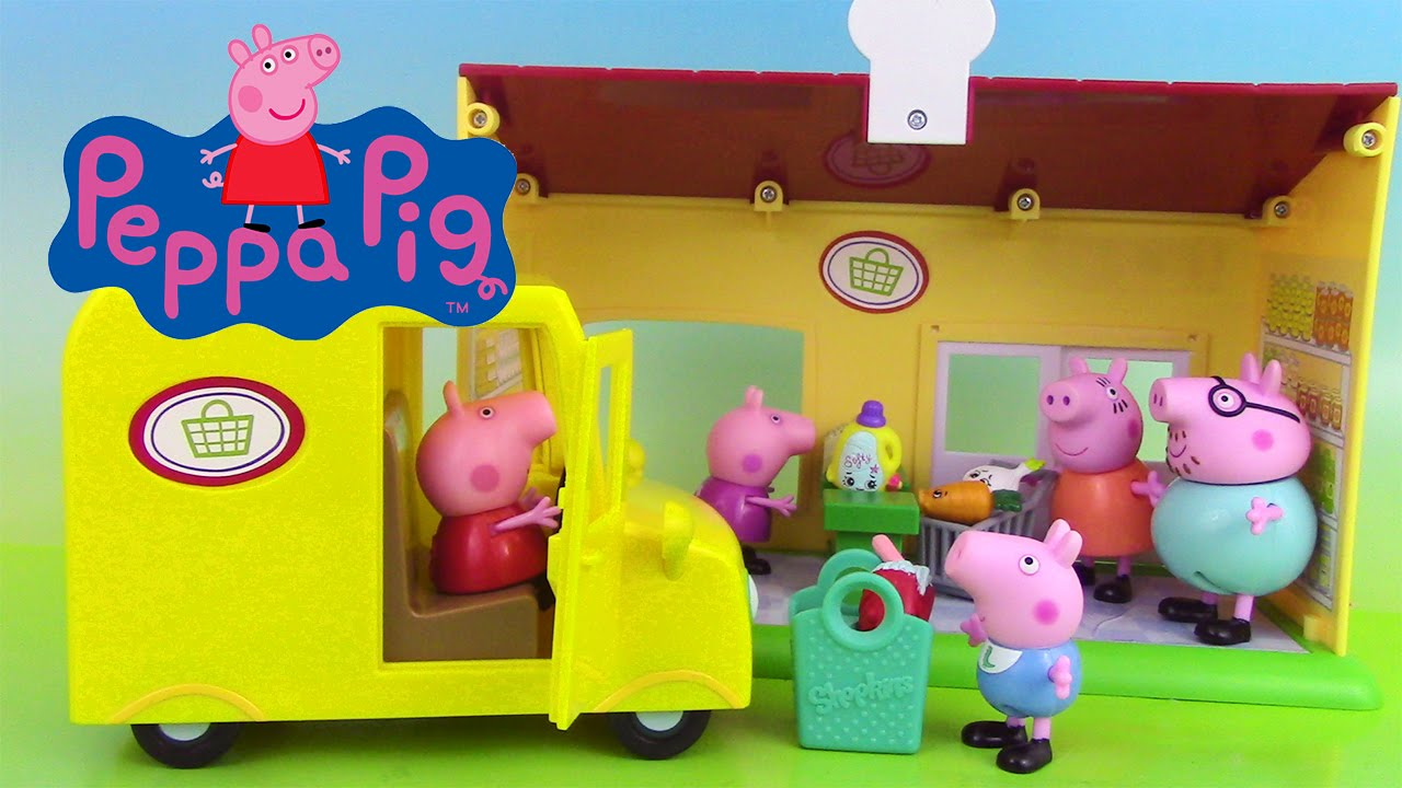 peppa pig jouets van supermarch supermarket truck playset. Black Bedroom Furniture Sets. Home Design Ideas