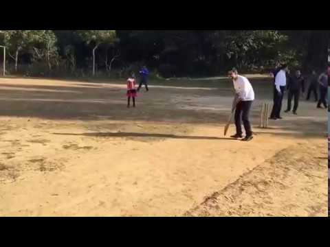 Sundar Pichai(Google CEO ) playing cricket in a village near IIT Kharagpur