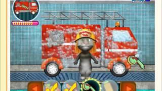 Кот Том моет пожарную машину   Онлайн игра  Kids games