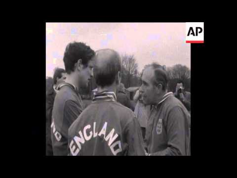 SYND 14-1-69 THE ENGLAND FOOTBALL TEAM TRAIN PRIOR TO PLAYING ROMANIA IN A FRIENDLY