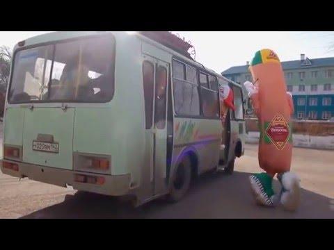 Прикол!!!Смешное видео!!! СОСИСКА НЕ УСПЕЛА НА АВТОБУС!!!