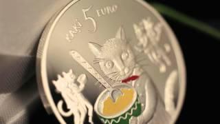 """Kolekcijas monēta """"Pasaku monēta I. Pieci kaķi"""""""