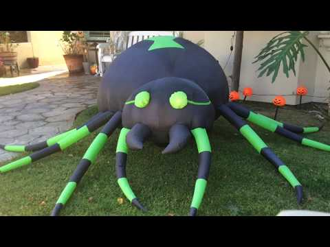 (Daytime) Animated Green Spider Inflatable