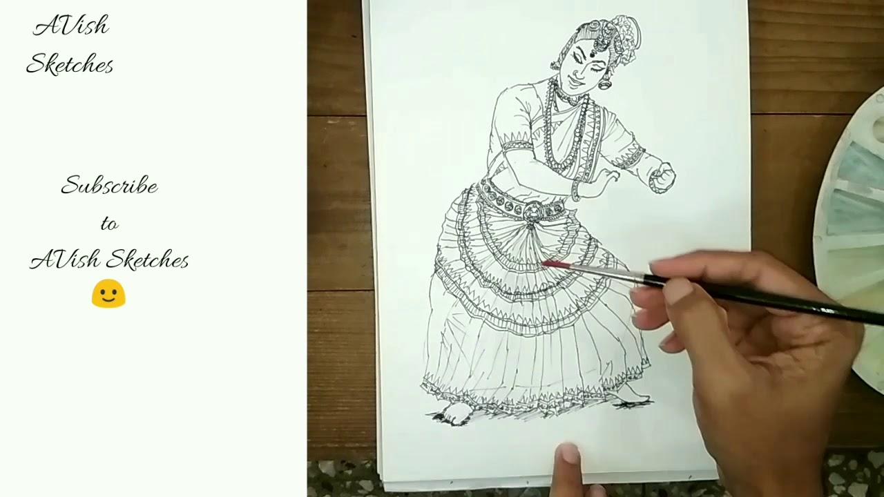 Indian Classical Dance Drawing | AVish Sketches | Drawing #21