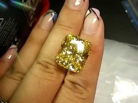 Canary Yellow Radiant Cut Cubic Zirconia CZ Diamond Stones-www.frgems.com