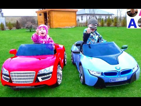 ПОДАРОК СЮРПРИЗ детский ЭЛЕКТРОМОБИЛЬ Арине Тест драйв BMW i8 Audi R8 Игрушки для детей