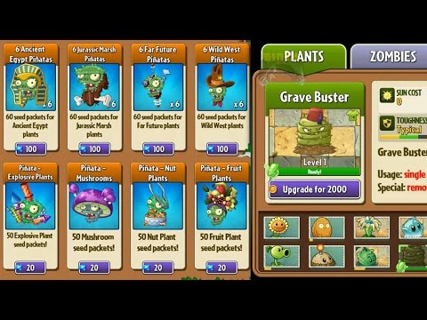 Plants vs Zombies 2 - All Pinatas for Plants Level Up System